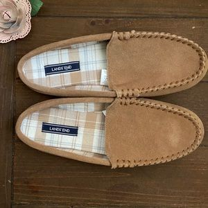 Lands' End flannel lined suede slippers Sz 11 NWOT